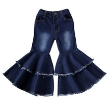 2-7Y Toddler Kids Baby Girls Bell-Bottoms Pants New Fashion Girls Solid Ruffle Denim Wide Leg Flare Trousers(China)