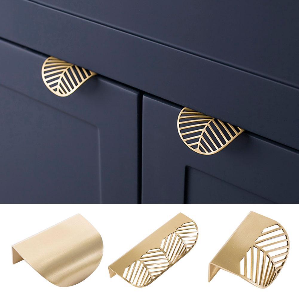 Forma da folha de bronze ouro armário puxa puxadores de móveis cozinha maçaneta da porta de cobre puxadores de gaveta puxadores de armário