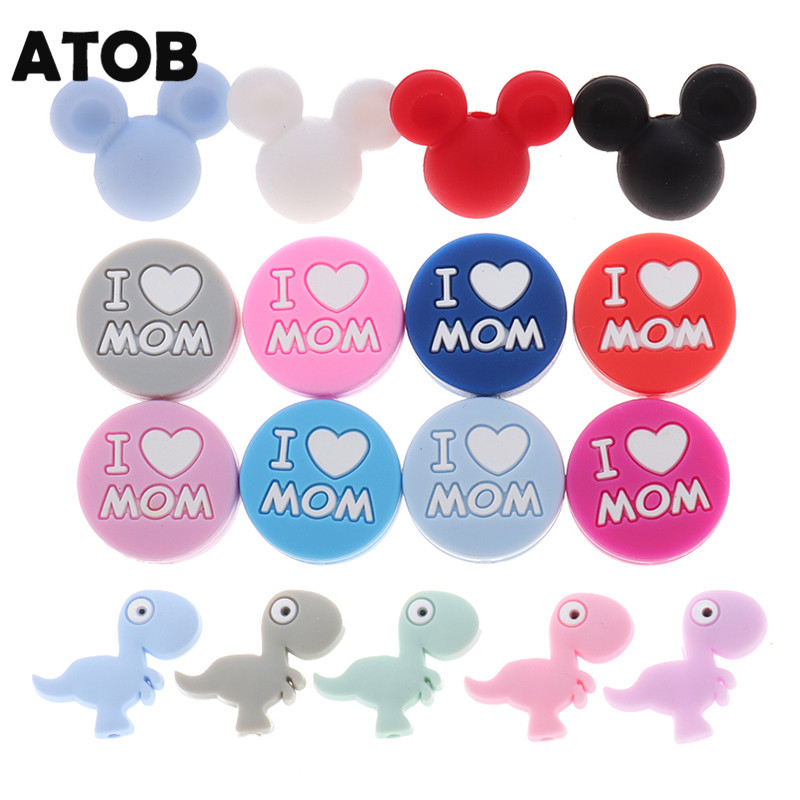 ATOB20pcs Mouse Silicone Beads Teething Rodent Bite Chew Baby Teether Pacifier Clips Chain Beads Pearl Silicone Teether I L Mom