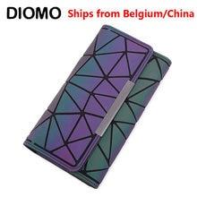 DIOMO-monedero con tres pliegues para mujer, cartera con tres pliegues, monedero largo, delgado con diseño geométrico