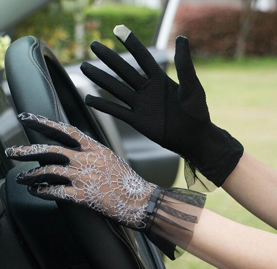 Spring Summer Women's Sexy Sunscreen Gloves Lady's Anti-uv Slip-resistant Touchscreen Driving Gloves Lace Gloves R2910