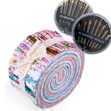 Dailylike 70 Pcs Jelly Roll Fabric Roll Up Cotton Fabric Quilting Strips Patchwork Craft Cotton Quilting Fabric + Sewing Needles