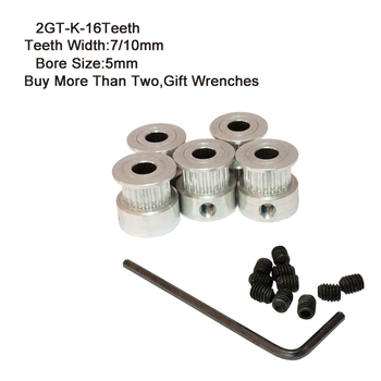 2GT-K Timing Pulley 16 Teeth 5mm Bore 7mm 10mm Teeth Width GT2 Synchronous Wheel Fit GT2 Belt Width 7&10mm 3D Printer Parts 2pcs each gt2 20 teeth 5mm and 8mm bore pulleys 2pcs each 202mm and 760mm long closed loop gt2 belt and 2m open ended belt
