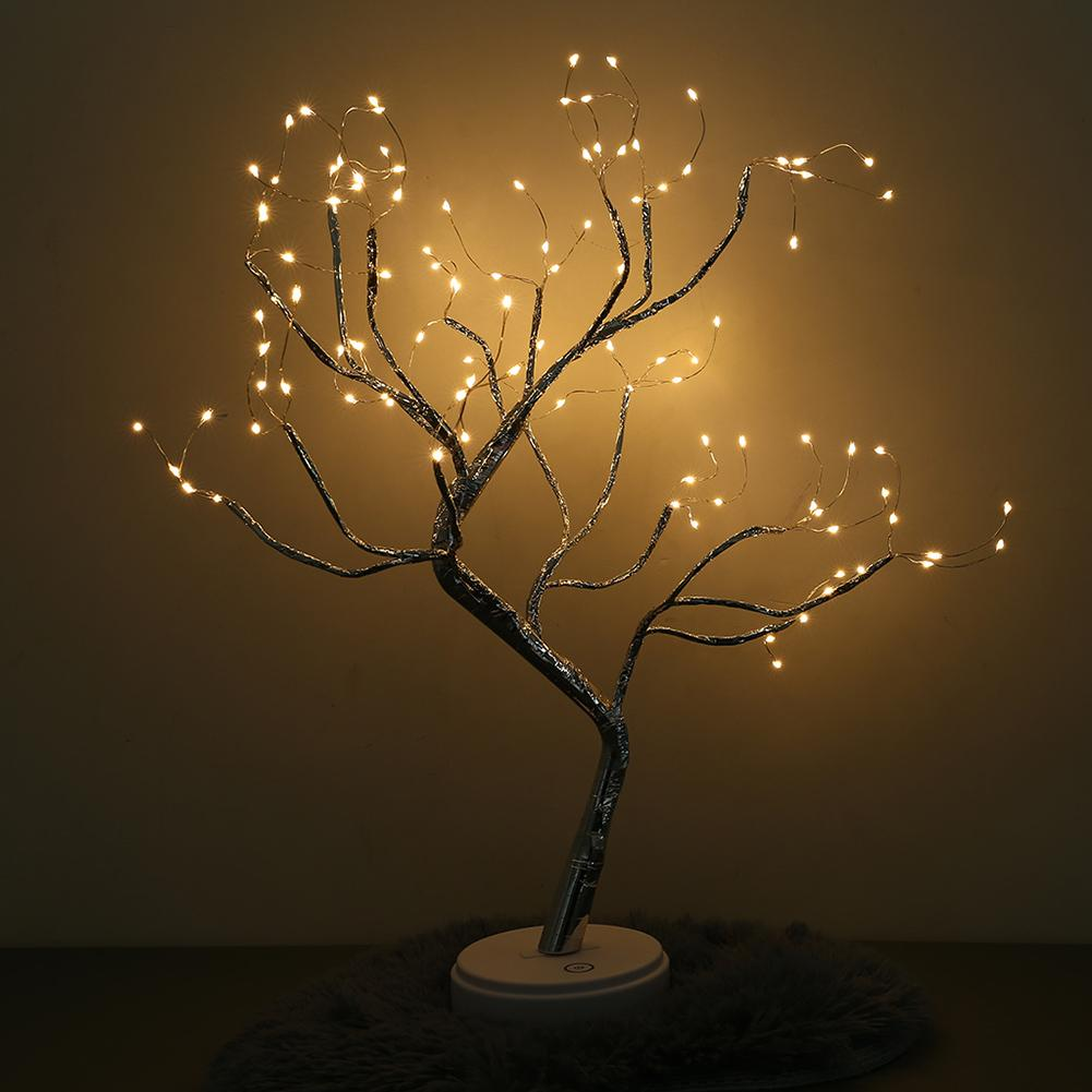 Simulation Tree LED Lights Battery Operated Copper Tree Lamps Touch Switch USB Charging Home Room Decoration Night Light