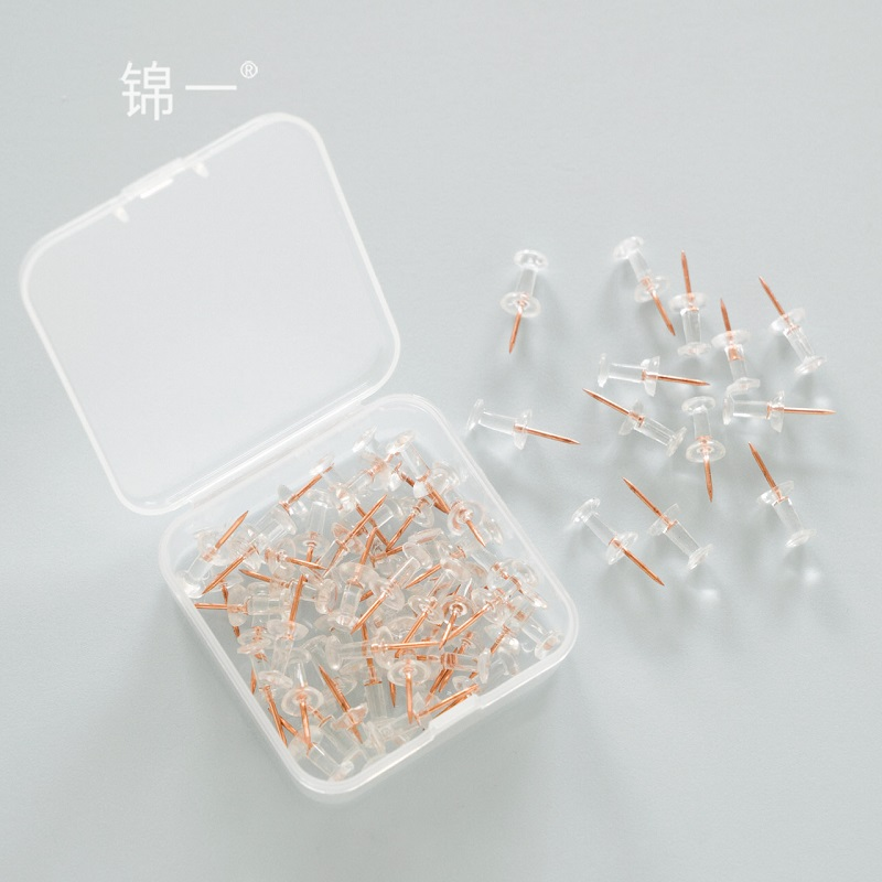 TUTU 50pcs/box Transparent Rose Gold Push Pins Thumb Thumbtack Board Pins Drawing Photo Wall Studs Office School Supplies H0330