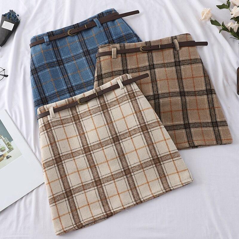 Harajuku Plaid A-Line Women Skirt Casual High Waist Above Knee Kawaii Skirts Vogue Ladies Sashes Vintage Cute Sweet Skirts