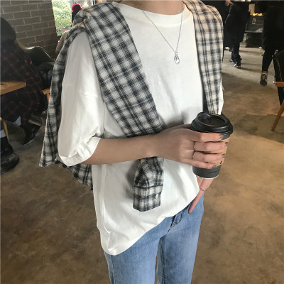 2020 WOMEN NEW new Korean version of loose solid color ladies shirt round neck short-sleeved t-shirt cotton women's clothing