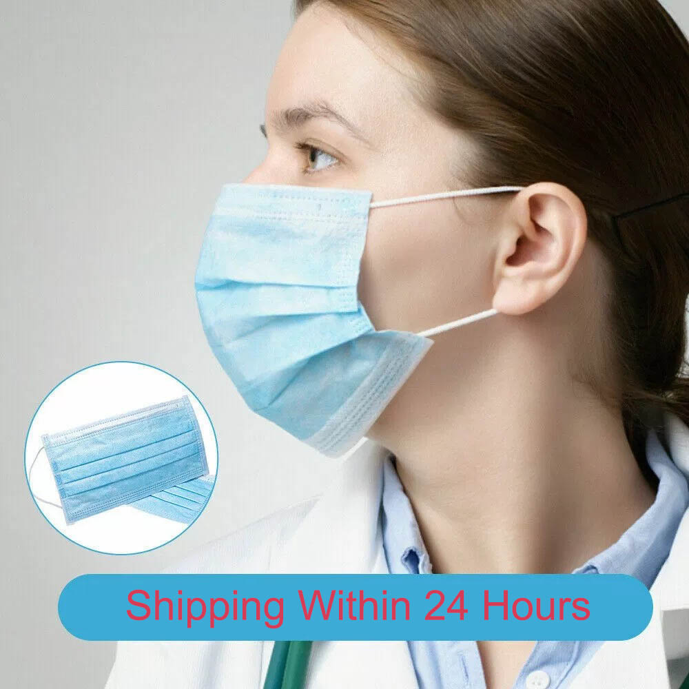 100pcs Face Mouth Anti Virus Dust Mask Disposable Protect 3-Ply Anti-COVID-19 Dustproof Earloop Non Woven Mouth Protective Masks