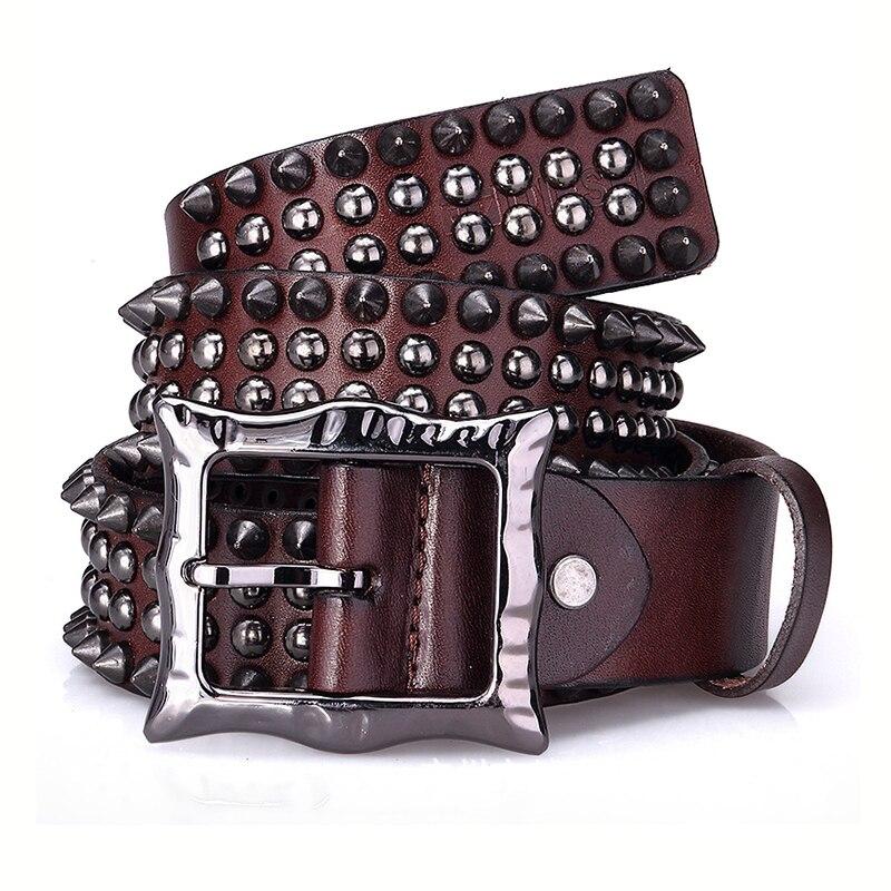Rivet Punk Men Women Pin Buckle Belt High Quality Genuine Leather Personality Belt Luxury Gift For Men Women Hip Hop Belt 2020