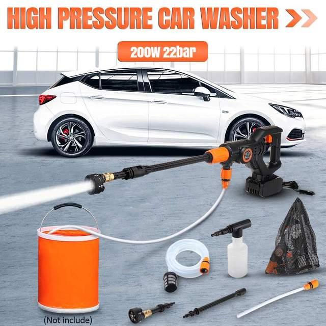 319PSI 4000mAh akumulatorowa myjka z dużą mocą wysokociśnieniowa myjnia samochodowa pistolet Spray do samochodu ogród strumień wody pod ciśnieniem narzędzia do czyszczenia przenośny środek czyszczący