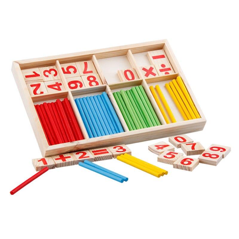 Деревянные игрушки Монтессори с интеллектуальными цифрами, учебные пособия по математике, палочки для расчета, детская деревянная обучающ...