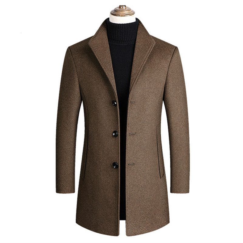 Thoshine Brand Winter 30% Wool Men Thick Coats Classic Slim Fit Turn Down Collar Male Fashion Wool Blend Outerwear Jacket Trench