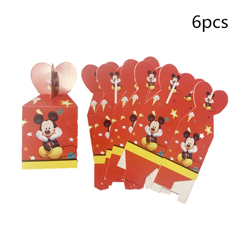 6pc/lot Red Cartoon Mickey Theme Paper Candy Box Children's Day Party Gift Box Wedding Decor Baby Shower Birthday Party Supplies