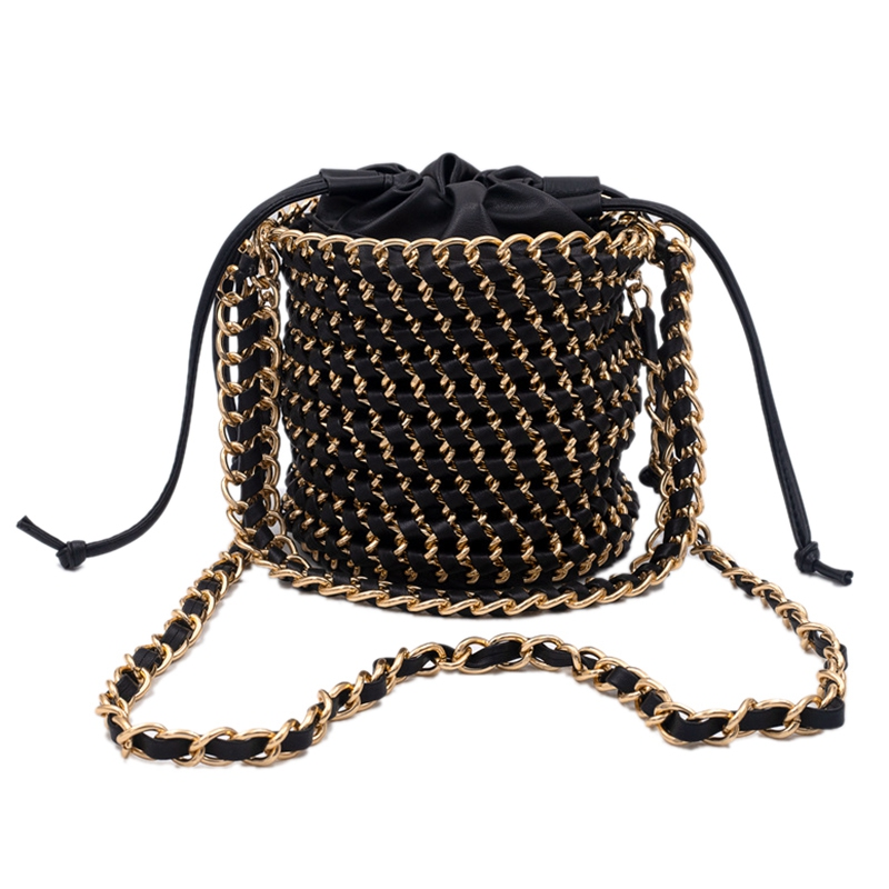 Women Straw Handbag Tote Summer Holiday Woven Bucket Bag Leisure Chain Shoulder Bag Crossbody Bag