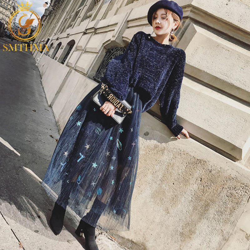 SMTHMA New 2019 Women Knit Sweater Sets Fashion Loose Pullover Sweater+Mesh Embroidery Skirt Two Piece Sets