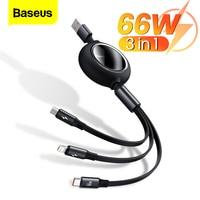 Baseus 3 in 1 USB Kabel Für iPhone 12 Pro Typ C Micro USB C Kabel 66W Schnelle Ladung für Xiaomi Samsung Versenkbare Daten Draht Kabel