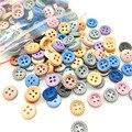 Suoja 50/200 шт. мини 1 см, цветная деревянная швейная кнопка для скрапбукинга, круглая кофейная точка, четыре отверстия, диаметр 10 мм (3/8 дюйма)