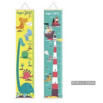 Cartoon Kids Growth Chart Wood Frame Fabric Height Measurement Ruler for Boys & Girls Childs Room Wall Decoration Dinosaur