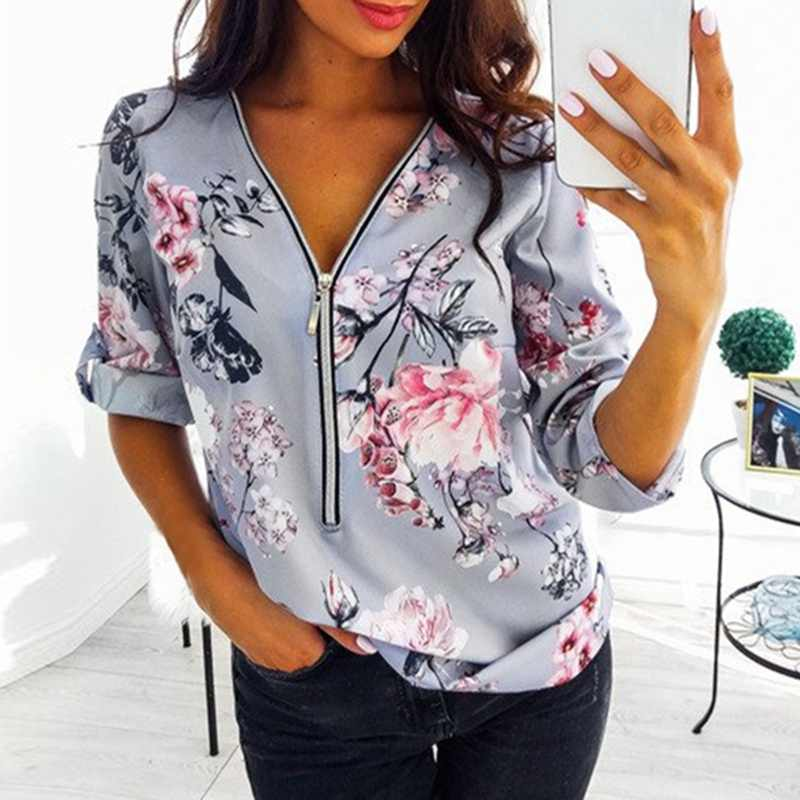Herbst Zipper Lange Hülse Frauen Shirts Sexy V Neck Floral Print Frauen Top Blusen Casual Tee Shirt Tops Plus Größen s-5XL Camisas