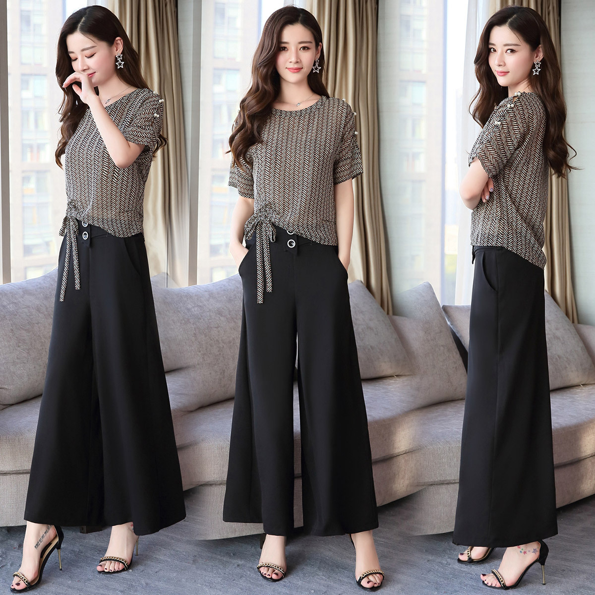 2018 Summer Set/Suit Skirt Street Fashion Elegant Slim Fit Slimming Simple Cute Versatile