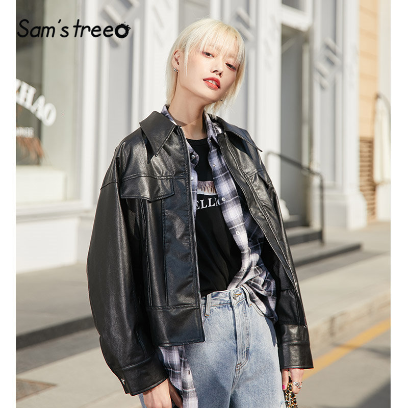 SAM'S TREE Black Solid New Grunge Leather Women Jacket 2020 Winter Zipper Drop Shoulder Sleeve Locomotive Casual Ladeis Coats