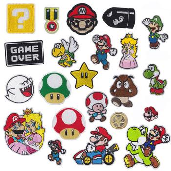 Mario żelazko na plastry paski termo naklejki na ubrania zastosowanie jednego transferu topliwy odzież anime patch aplikacja topy tanie i dobre opinie 6*6cm Tak ( 50 sztuk) Naszywane Haftowane HANDMADE Ekologiczne