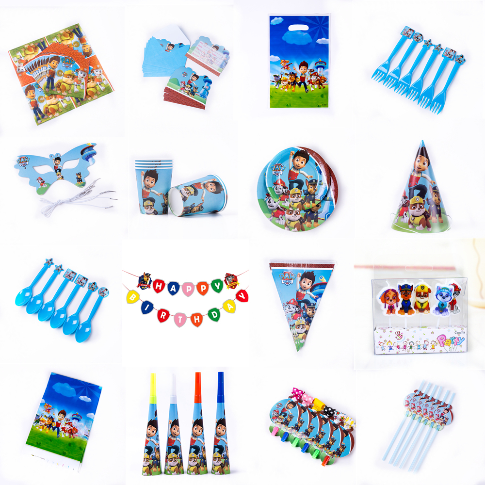 Paw Patrol Red Design Boys Birthday Party Decorations Balloon Paper Cups Plates Baby Shower Disposable Tableware Supplies