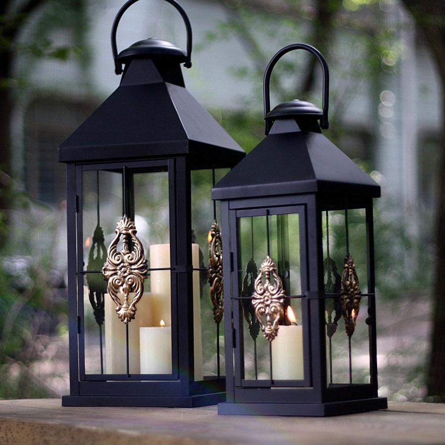 Wind Lamp Black Candle Holder Decoration Candle Holders Candlestick Candle Lantern Weeding Decoration Weddings Home Decor 50X195 - 2