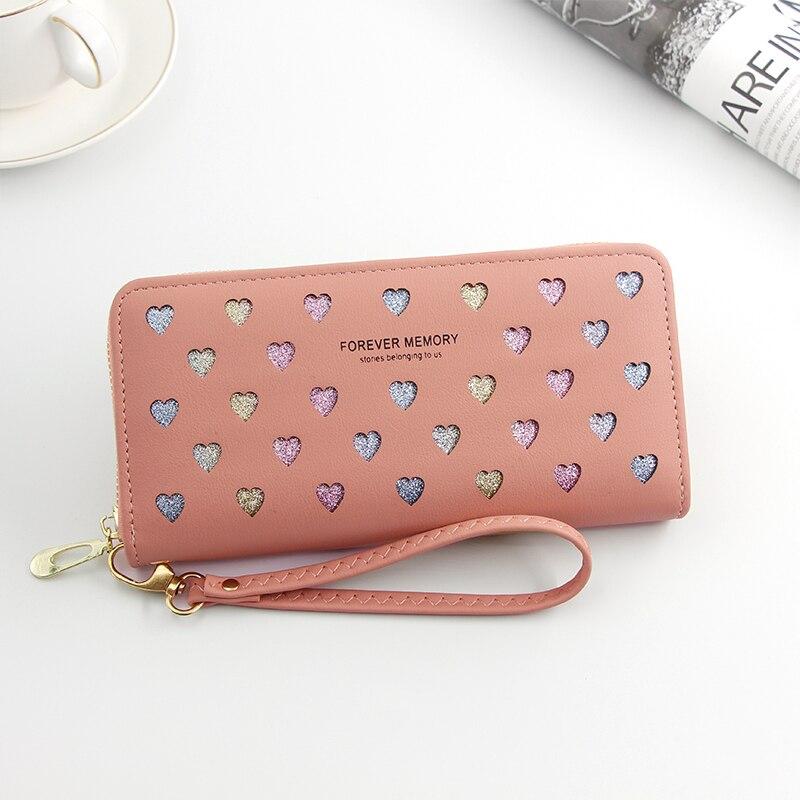 Women Wallet Long Pu Leather Love Heart Design Cute Purse for Phone High Capacity Card Holder Clutch Wallets Carteira Feminina