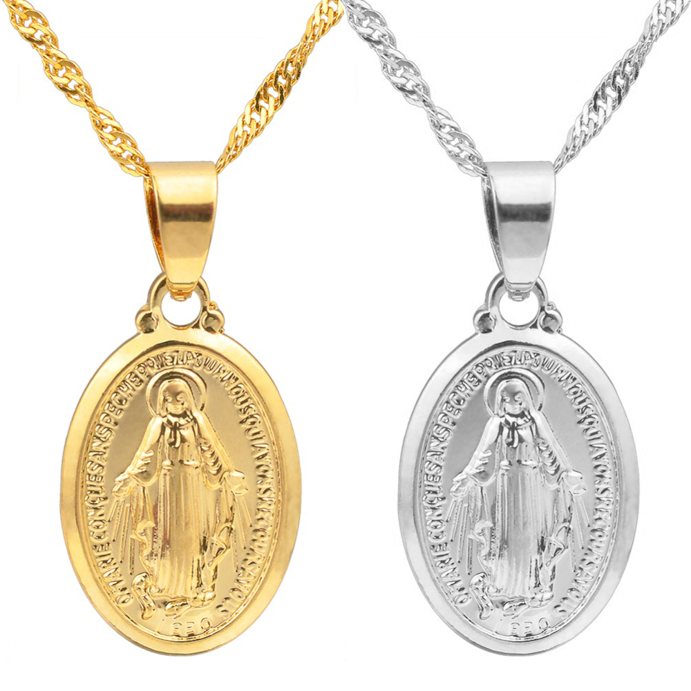 Anniyo Virgin Mary Pendant Necklace for Women,Silver Color/Gold Color Our Lady Jewelry Wholesale Colar Cross Trendy Chain#006210