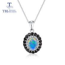 TBJ,Natural Opal Pendant Nautral Black opal pendant real black garnet pendant ruby pendant 925 sterl