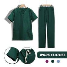 Женская рабочая одежда топ с коротким рукавом и v образным вырезом