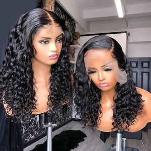 Image 1 - ディープ波かつらレースフロントかつら人毛ディープカーリー13 × 4レースフロントかつら事前摘み取らで黒人女性のためのバルク販売