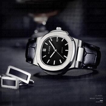 PLADEN MenS Sports Watches Top Luxury Brand Grand Black Leahter Watch Steel Male Army Quartz Military Men Fashion Wristwatch