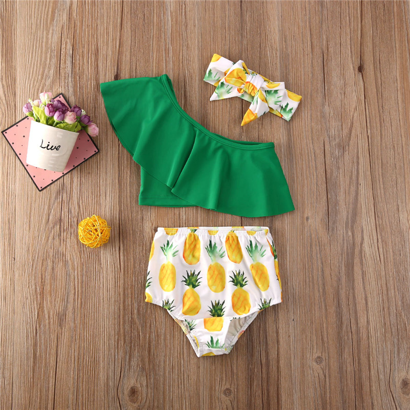 0-4 Years Baby Girl 3pcs Swimwear Pineapple Print Bow Bikini 2020 Swimsuit Baby Girls Toddler Swimming Suit Clothes