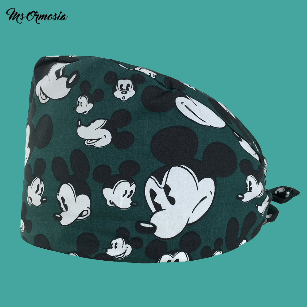 MSORMOSIA High Quality Cartoon Printing Men And Women 100% Cotton Beauty Nurse Cap Doctor Cap Drawstring Surgical Cap Beauty Hat