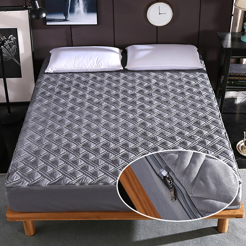 8 Colors Bed Mattress Cover With Zipper Quilted All Inclusive Soft Fiber Topper Thick Mattress Protector Pad Covers Anti-mite(China)