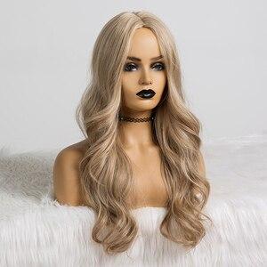 Image 3 - אלן איטון סינטטי פאות לנשים שחורות ארוך גלי שיער 22 אינץ קוספליי אור אפר חום בלונדינית פאת אמצע חלק חום עמיד