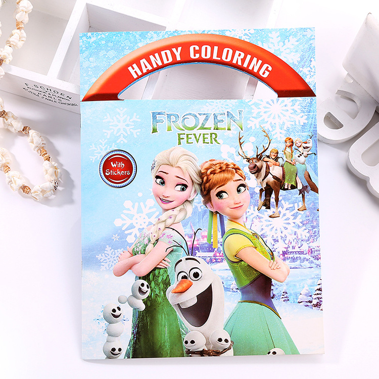 Disney Cartoon Portable Coloring Book Frozen Spiderman Winnie Graffiti Boy Girl Interesting Picture Book