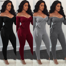 2020 Summer Women Jumpsuits Rompers Full Sleeve V-Neck Solid Sashes Sexy Night Club Party Bandage One Piece Outfits GL1063