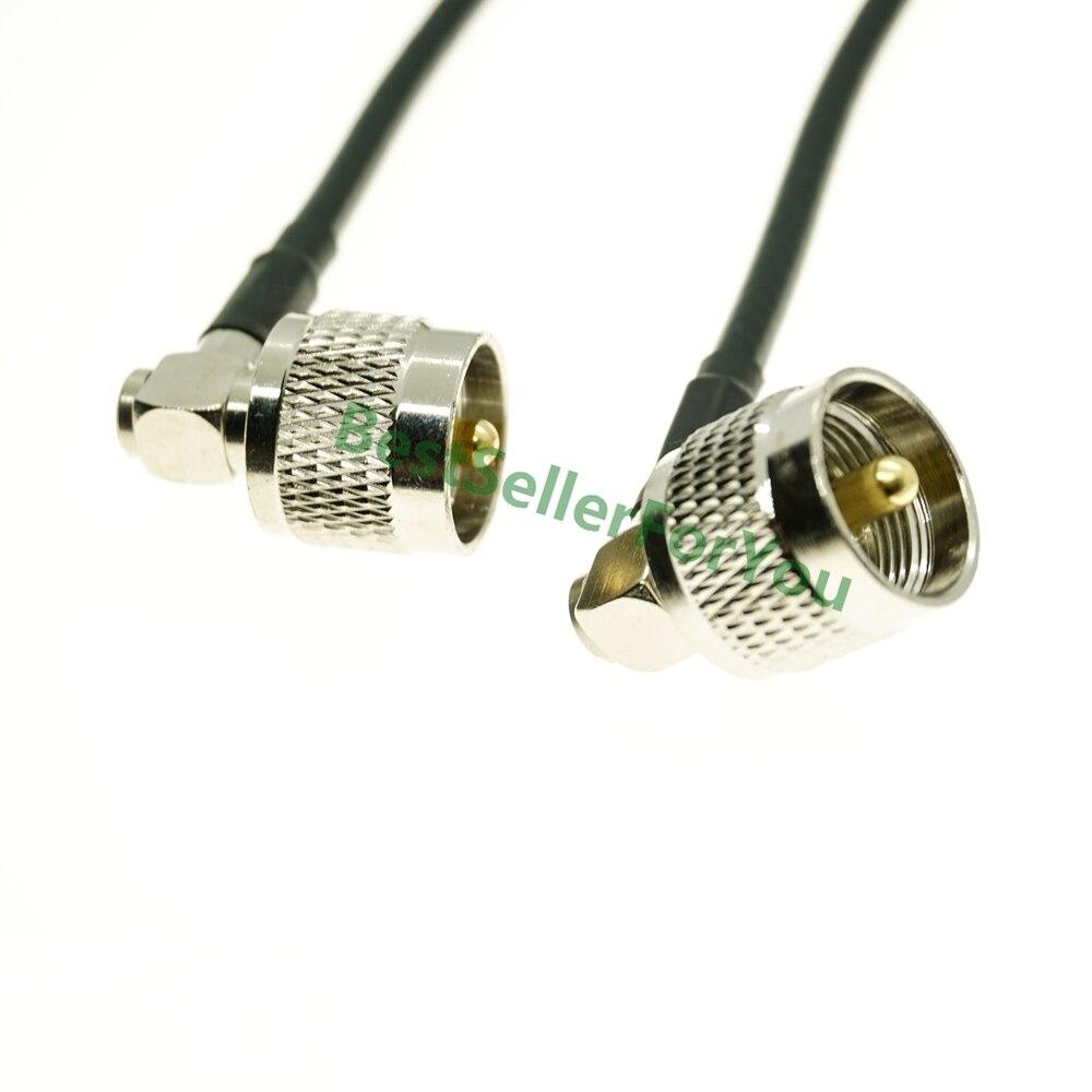 UHF macho ángulo recto a UHF macho PL259 ángulo derecho RA Cable de puente de cola de cerdo RG58 Cable SMA de 10M, macho a antena hembra, Conector de extensión SMA RG58