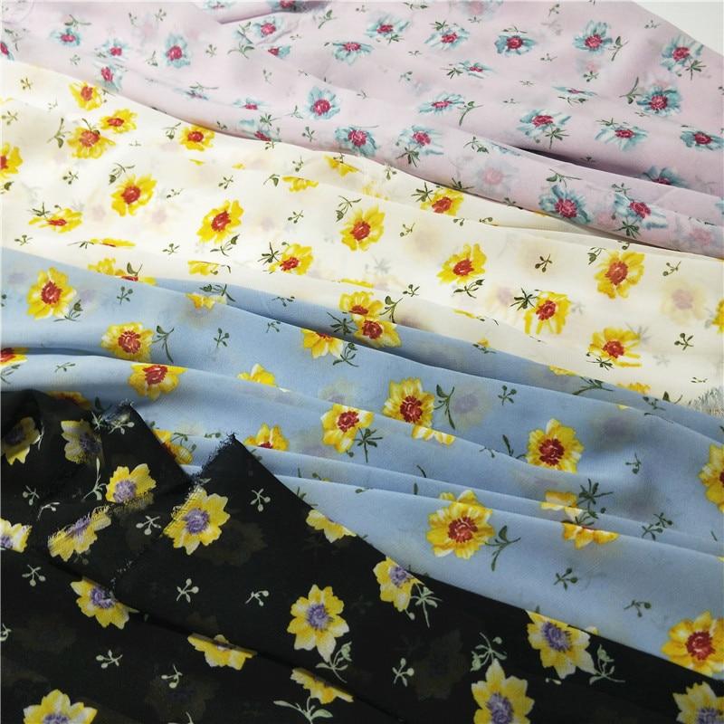 מוסמך שיפון פרחוני הדפסת תפירת בד לנשימה שמלת צעיף קרפט בד בקיץ שיפון|בד|   - AliExpress