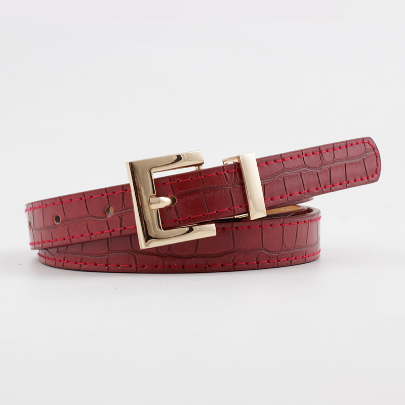 2020 New Designer Women's Red Black Brown White Narrow Thin Faux Crocodile Leather Belt Female Gold Buckle Belts For Women Dress