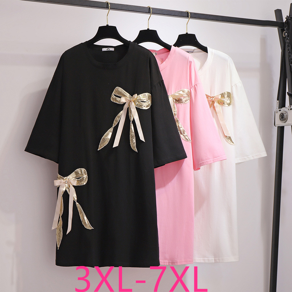 2020 Summer Plus Size Tops For Women Loose Casual Short Sleeve Cotton Bow O Neck Long T-shirt Black White Pink 4XL 5XL 6XL 7XL