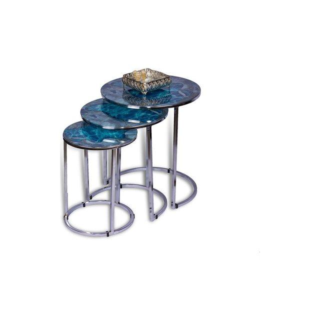 Morski niebieski Model srebrne metalowe nóżki stół gniazdujący srebrne kolorowe metalowe nóżki stół gniazdujący darmowa wysyłka z turcji tanie tanio FURNITURE CN (pochodzenie)