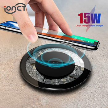 iONCT 15W Qi Wireless Charger For iPhone 11 Pro Xs Max X Xr 8 Induction Fast Wireless Charging Pad For Samsung S20 Xiaomi mi 9 qi wireless fast charger pad bluetooth speaker nfc hifi bass loundspeaker music player charging for iphone 8 x for samsung