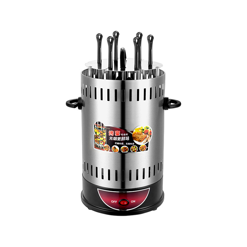 800w Power Indoor Vertical Smokeless Electric Burn Oven FOR BBQ Household Automatic Rotating Grill  6 Skewers Chicken Rotisseri