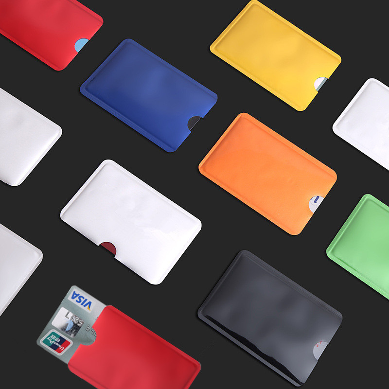 10pcs/set Women Aluminum Anti Scan Bank Credit Card Protection Cover Bag Unisex ID Bank Bus Card Holder Wallet Purse Bag Pouch