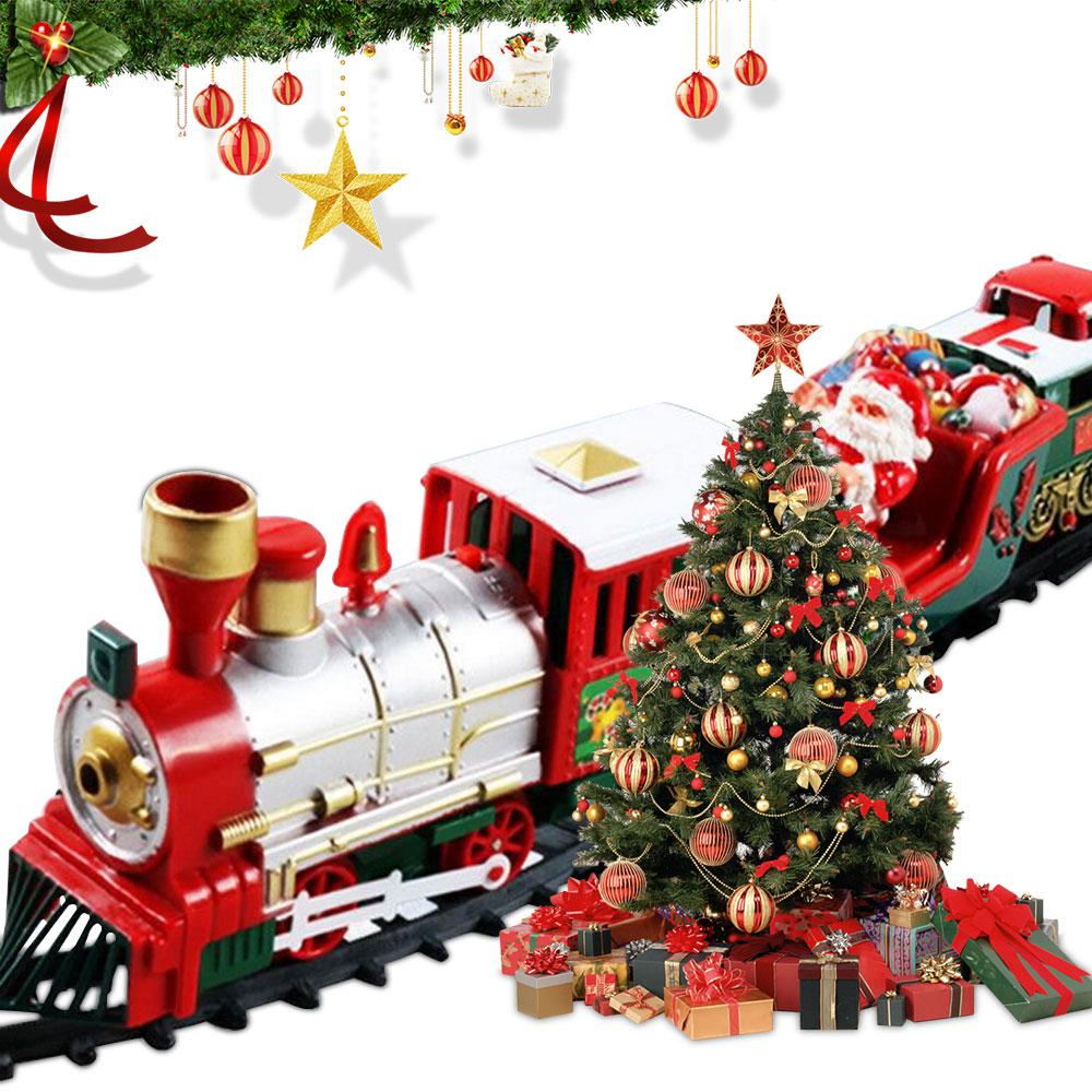 Electric Christmas Train Set With Lights & Sounds Railway Tracks Playset For Under The Tree Electronic Toys Gifts For Kids
