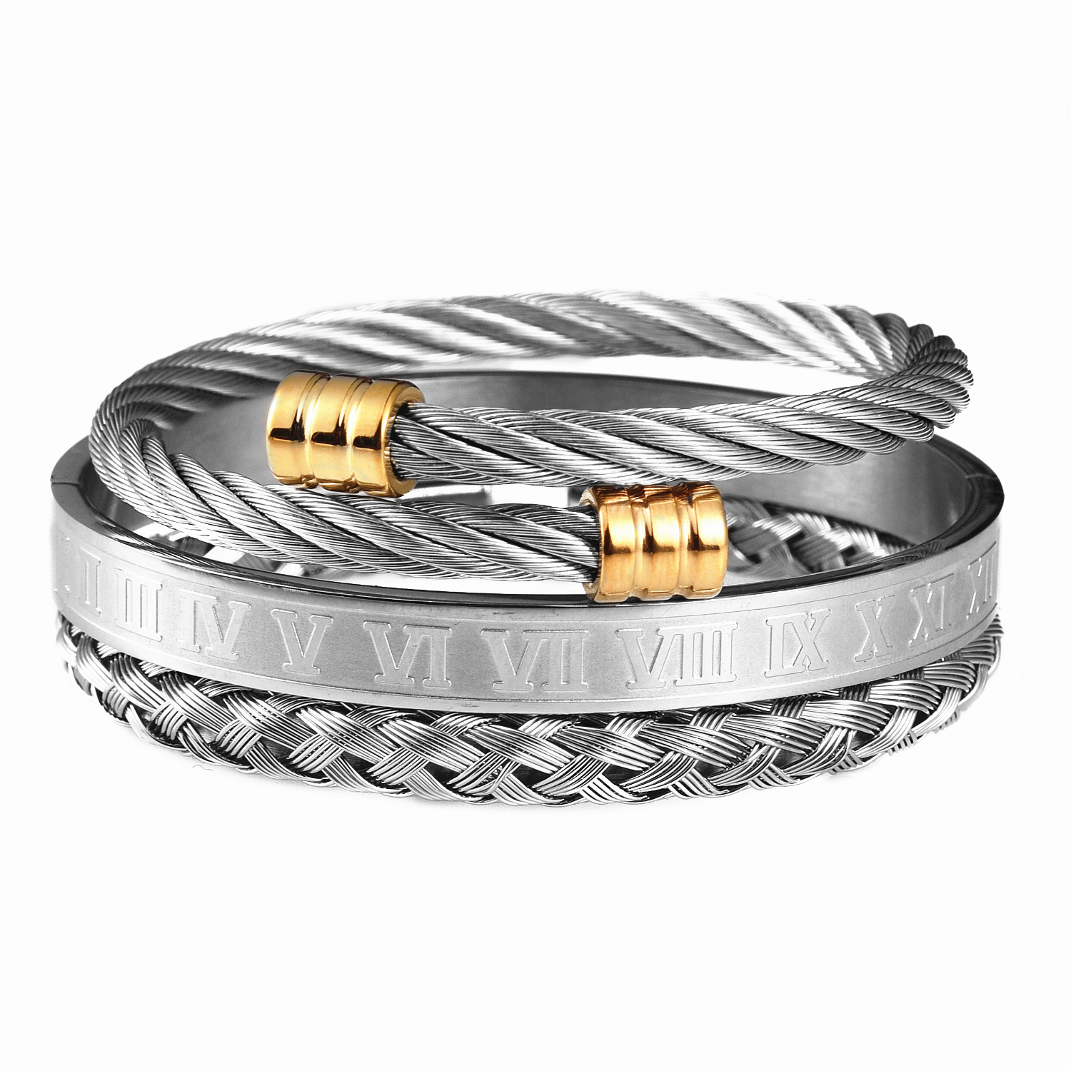 3pcs/Set Roman Numeral Men Bracelet Handmade Stainless Steel Hemp Rope Buckle Open Bangles Pulseira Bileklik Luxury Jewelry